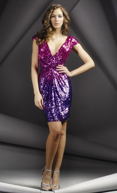 ombre sequined cap sleeve v neck jovani short cocktail