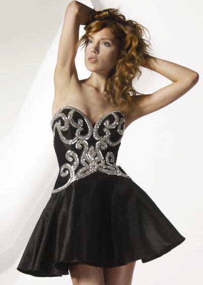 Jovani Metal Corset Top Short Homecoming Dress 8827: French Novelty