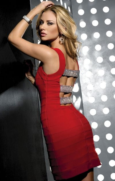 Jasz Couture Beaded Back Strap Sexy Cocktail Dress 4230 image