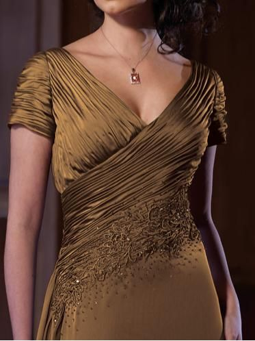 Alternate view of the Short Sleeve V Neck Ruched Beaded Montage by Mon ...