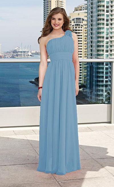 One Shoulder Long Chiffon Mori Lee Bridesmaid Dress 282: French Novelty