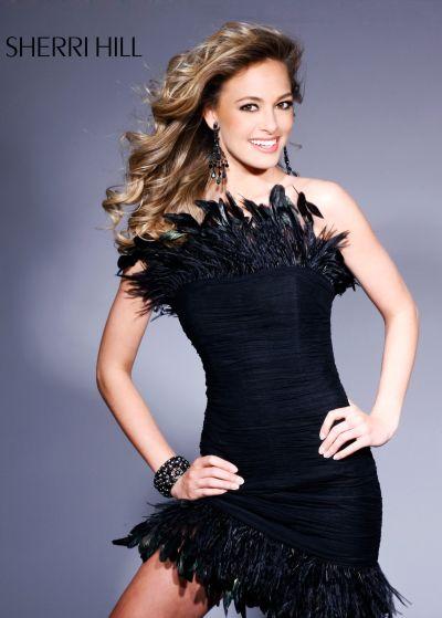 Sherri Hill Short Black Feather Cocktail Dress 1301 image