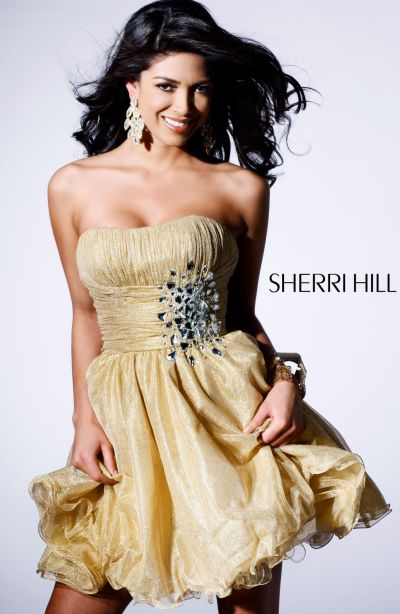 Gold Sherri Hill Short Party Dress 1307 image
