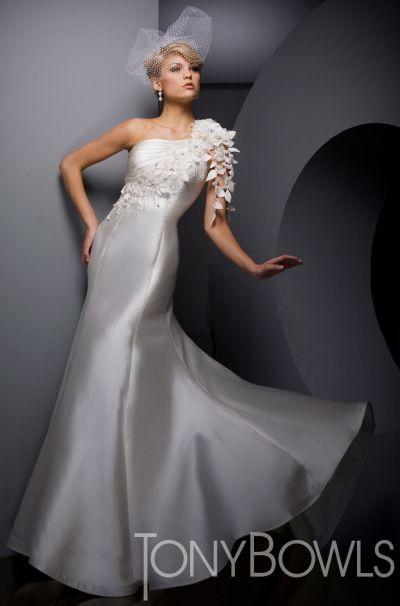 Tony Bowls Whites One Shoulder Destination Wedding Dress 210W50 ...