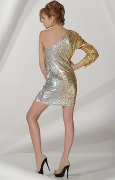 Jovani Gold and Silver Sparkly Sequin Cocktail Dress 158561 ...