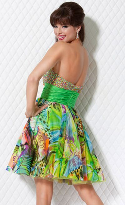 Jovani Colorful Beaded and Print Short Party Dress 171563: French ...