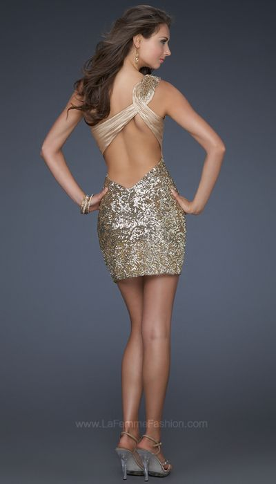 La Femme Gold Sequin Cocktail Dress with Lace Trim 16905: French ...