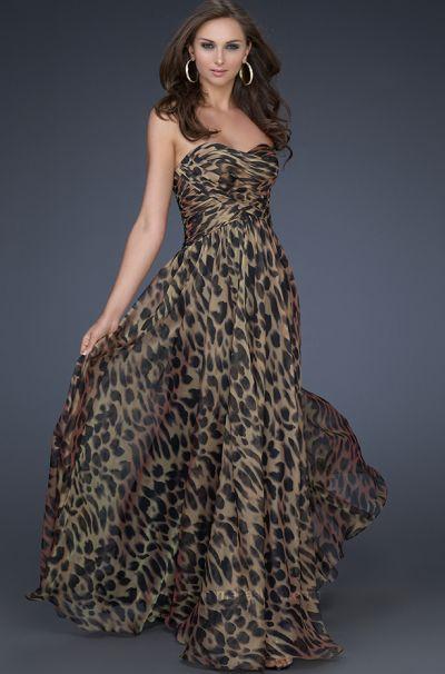 Flattering Animal Print Chiffon Evening Dress La Femme
