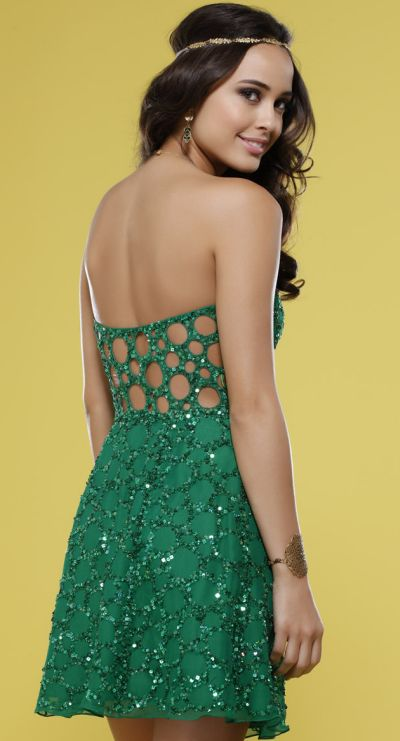 Emerald Green Beaded Scala Cocktail Dress with Cut-Out Back 14241 ...