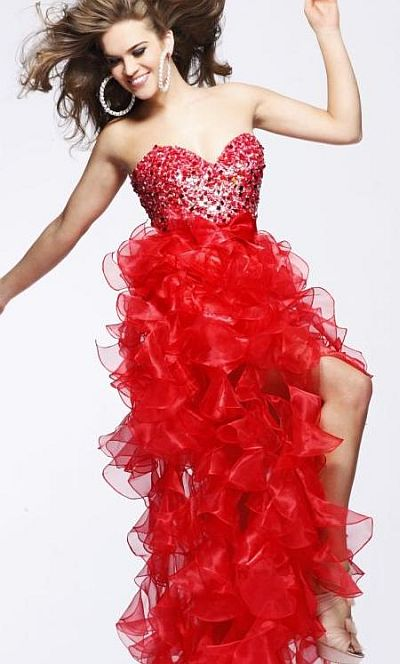 Sherri Hill Ruffled Tiered High Low Prom Dress 2415: French Novelty