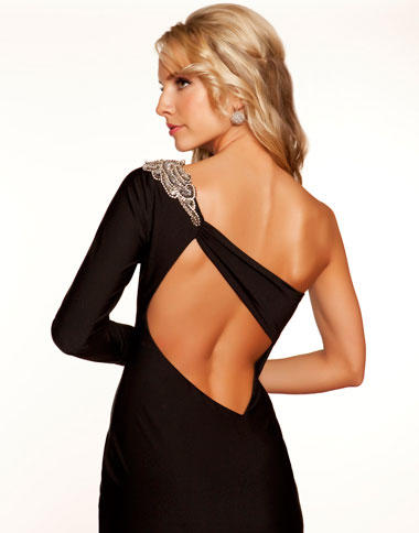 Mac Duggal Black and White One Shoulder Cocktail Dress 2624R ...