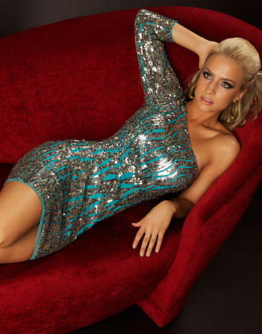 Sequin Dress on Twelve By Mac Duggal One Long Sleeve Sequin Cocktail Dress 3480t Image