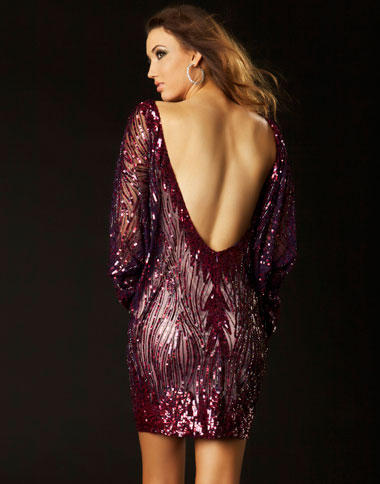 Sequin Cocktail Dress on Of Twelve By Mac Duggal Long Sleeve Open V Back Cocktail Dress 3578t