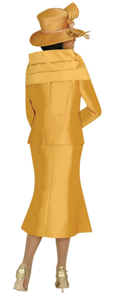 Nubiano N95823 Womens Gold Church Suit With Removable