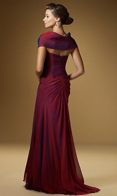 Rina Di Montella 1523 Silk Iridescent Chiffon Formal Dress With