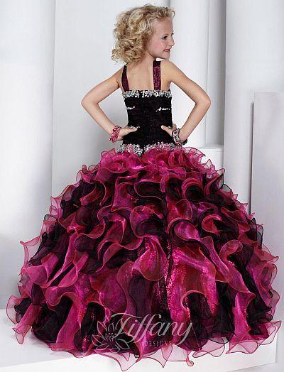 Tiffany Princess Girls Organza Lame Ruffle Pageant Dress 13320 ...
