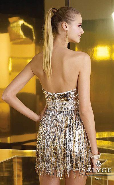 Alyce Short 4337 Sequin Fringe Dress French Novelty