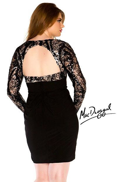 Mac Duggal Plus Size Long Sleeve Cocktail Dress 76547R: French Novelty