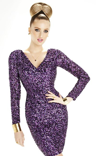 Scala 47620 Long Sleeve Sequin Short Dress: French Novelty