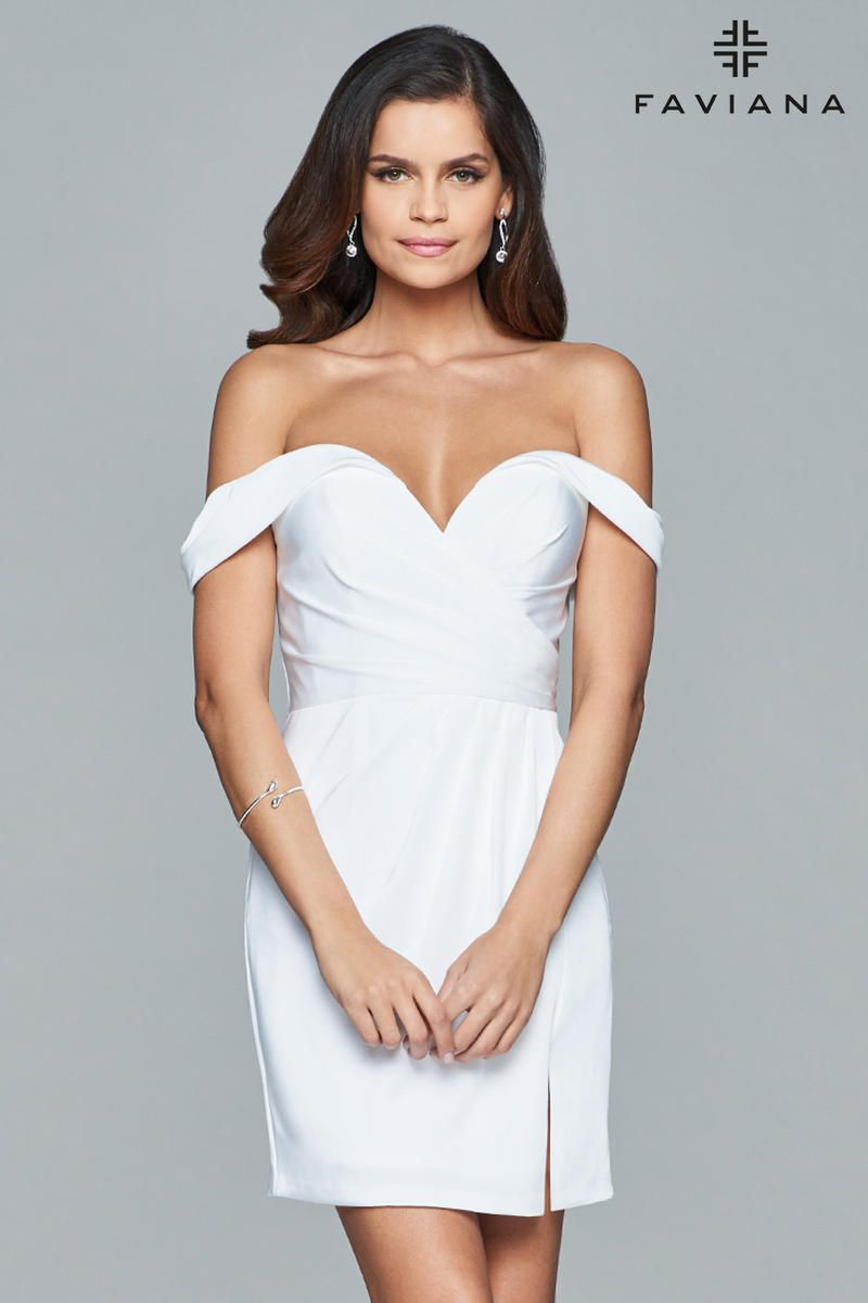 French Novelty Faviana 8050 Off Shoulder Draped Cocktail Dress