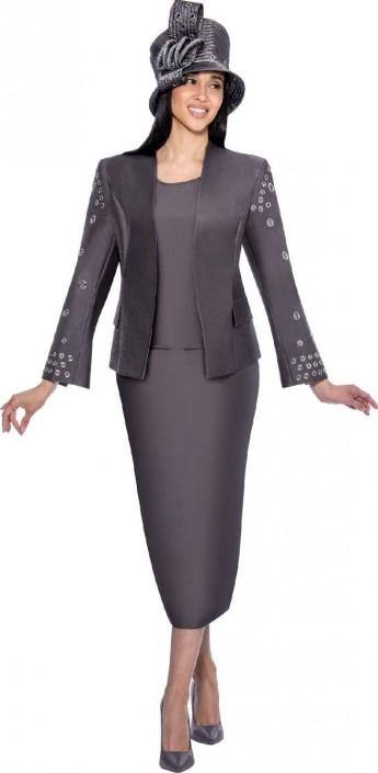 Size 16 Gunmetal Gmi G6333 Womens Church Suit With Grommet Design