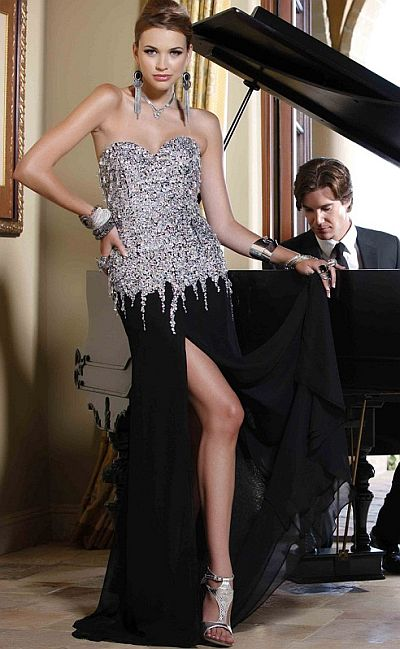 BG Haute Prom Dress with Delicate Hanging Beads F19119: French Novelty