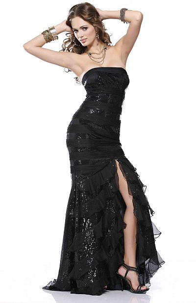 BG Haute Black Sequin Prom Dress with Playful Chiffon F22157: French ...