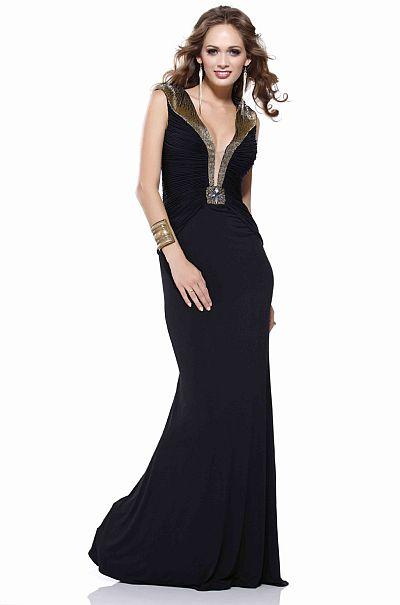 BG Haute Black Deep V Neck Prom Dress F27029: French Novelty