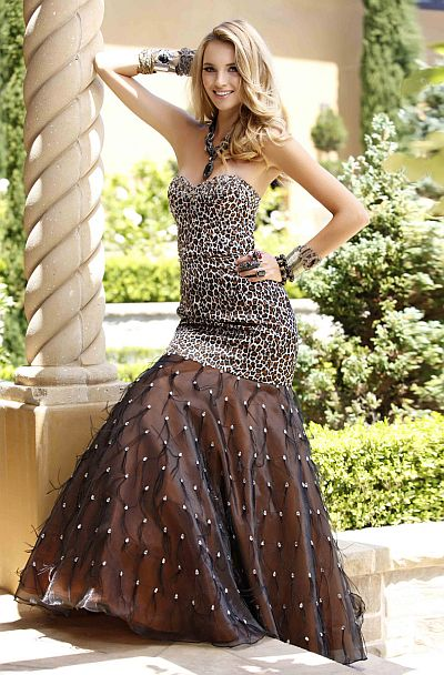Bg Haute Leopard Print Prom Dress With Ostrich Feathers F28077