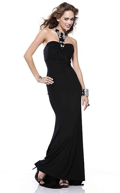 BG Haute Simply Chic Black Jersey Prom Dress F28086: French Novelty