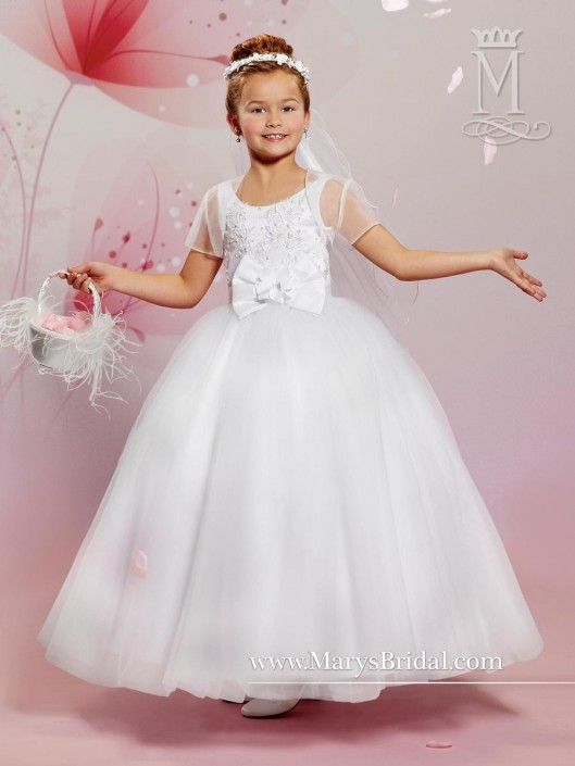 Cupids by Marys Bridal F485 Flower Girls Dress with Lace: French Novelty