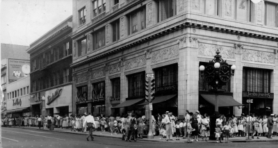 The French Novelty Shop in 1954. The Adams Street store had a turnout that wound around the city block when Clarabell from the Howdy Doody Show appeared during a special event. (Click on photo to see Clarabelle!)