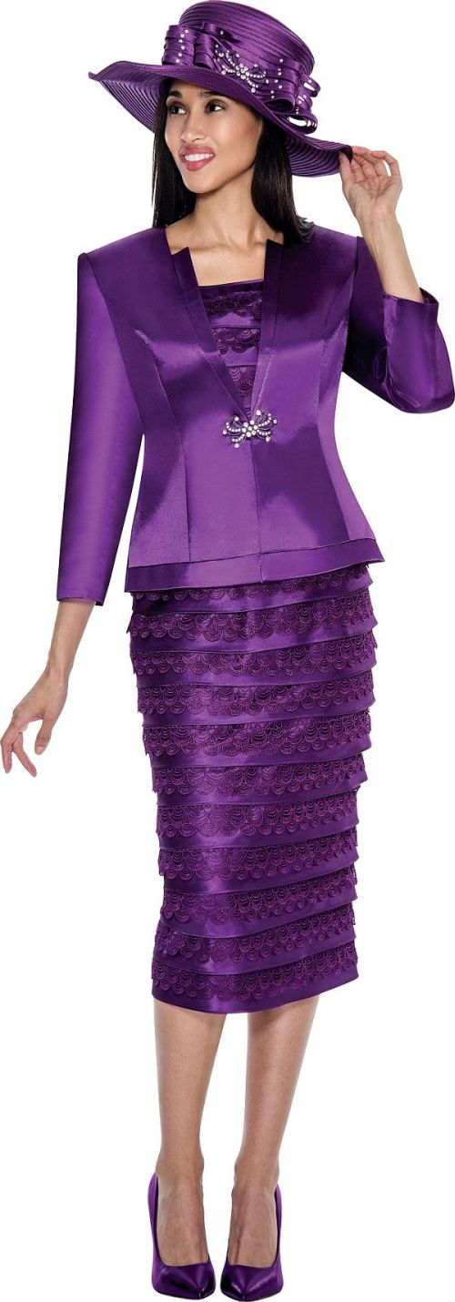 GMI G6103 Womens Church Suit With Tiered Skirt: French Novelty