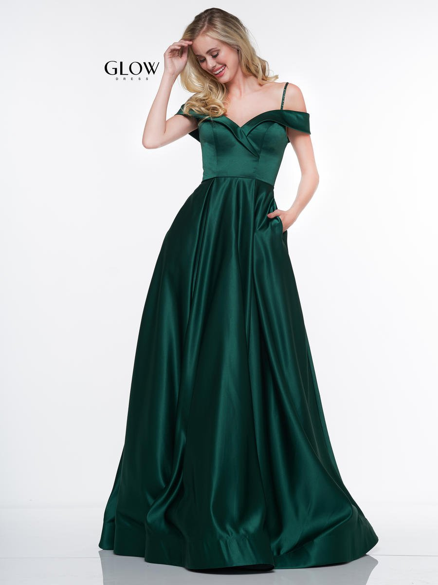 Glow By Colors G841 Off Shoulder Satin Prom Dress French