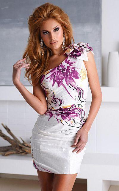 Terani Homecoming Fuchsia Multi Floral Print Cocktail Dress H1252 ...