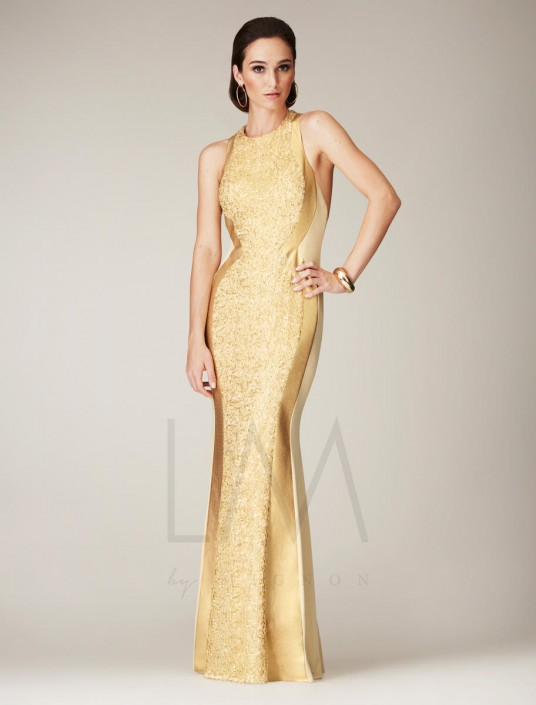 a5a32e71a46 LM by Mignon HY1065 Gold Threaded Evening Dress  French Novelty