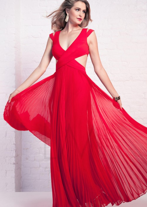 LM by Mignon HY1223 Cutout Gown with Pleated Skirt: French Novelty