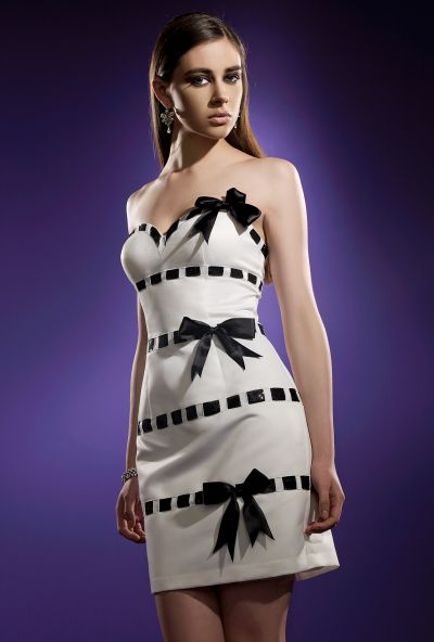 Terani couture black cocktail dress with white bow