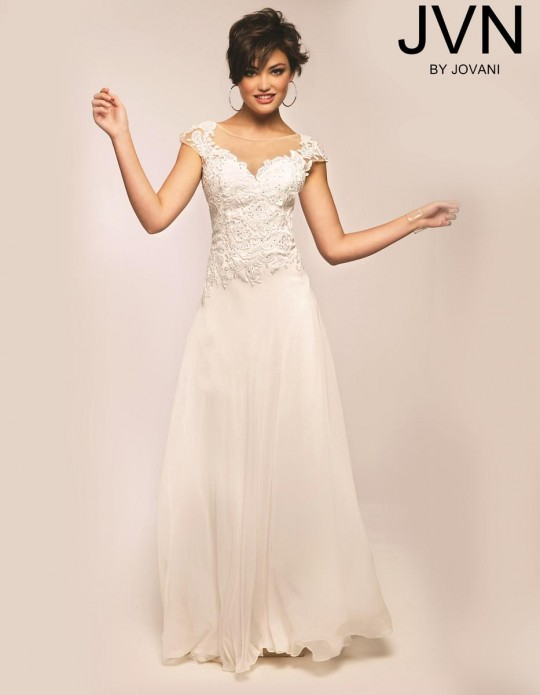5d28d0071bfd Jovani JVN23484 Cap Sleeve Prom Gown: French Novelty