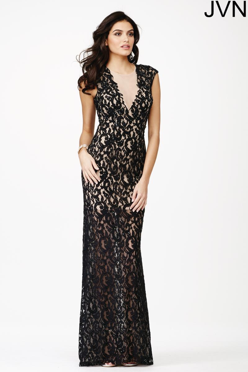 jvn prom jvn27505 sheer lace gown french novelty
