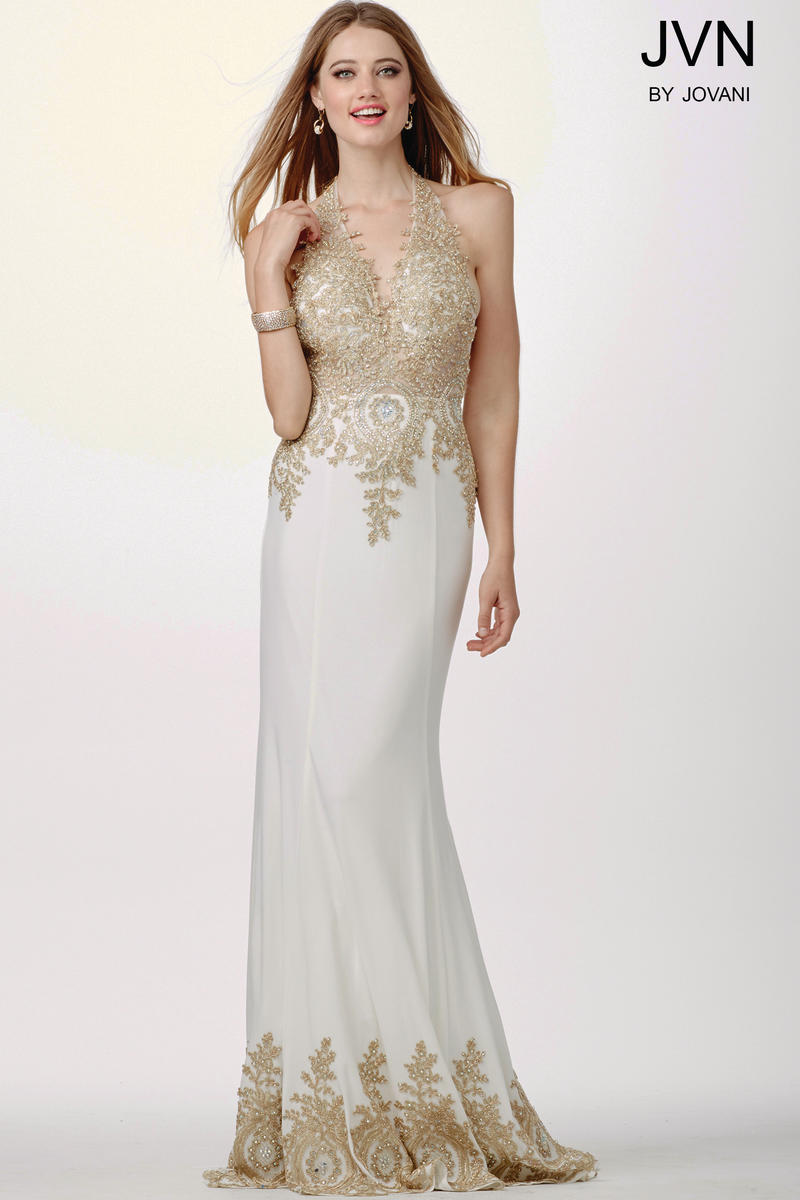 Jvn prom jvn31492 halter gown with open back french novelty for Knoxville wedding dress shops