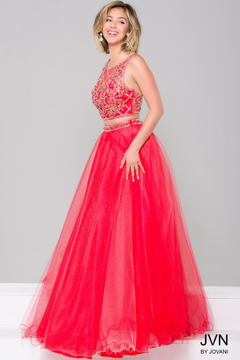 8254e8c42e03 JVN36847 Beaded 2 Piece Prom Dress: French Novelty