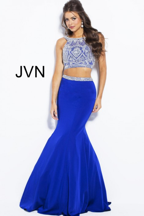 Size 4 Royal-Silver JVN Prom JVN41441 Beaded 2 Piece Mermaid Gown ...