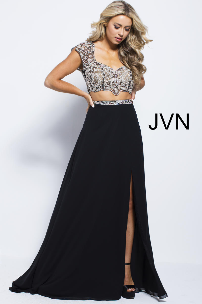 Jvn Prom Jvn48486 Cap Sleeve 2 Piece Gown French Novelty