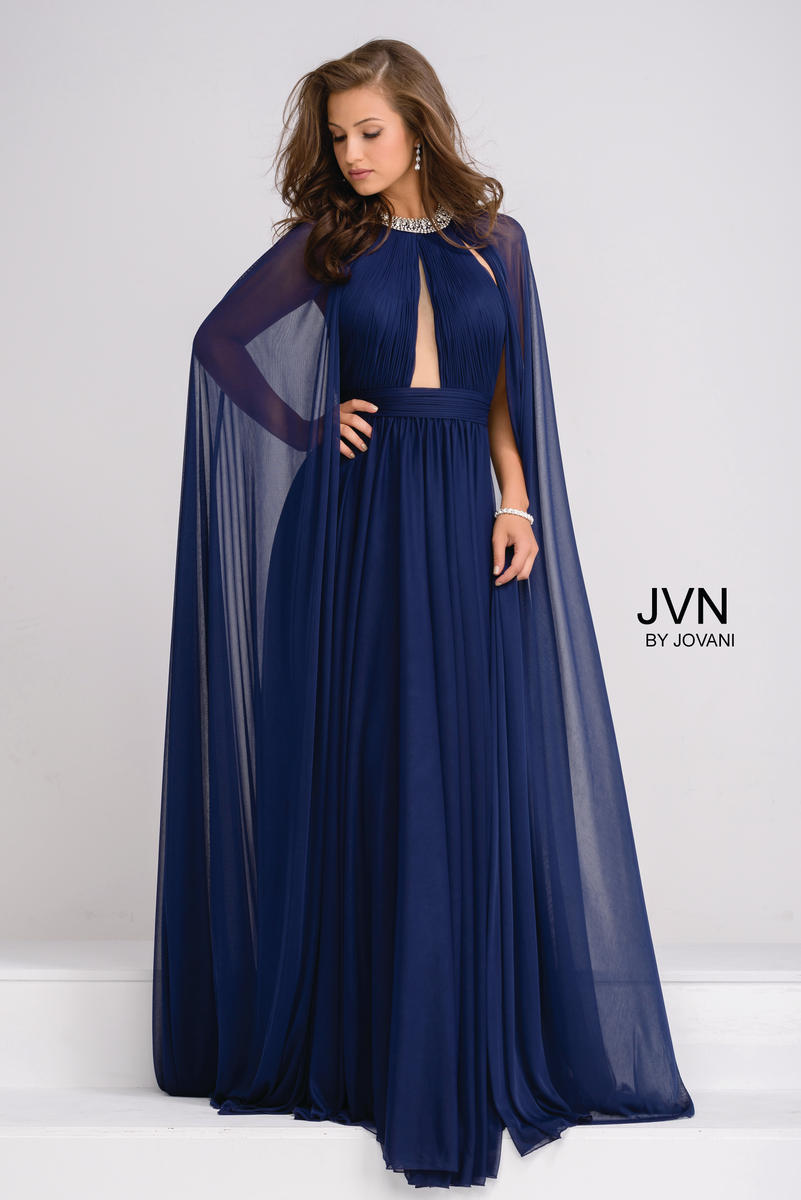 JVN Prom JVN48493 Gown with Flowy Cape: French Novelty