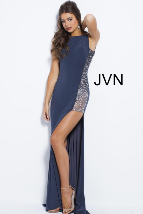JVN Prom JVN48853 Sheer Side High Low Gown: French Novelty