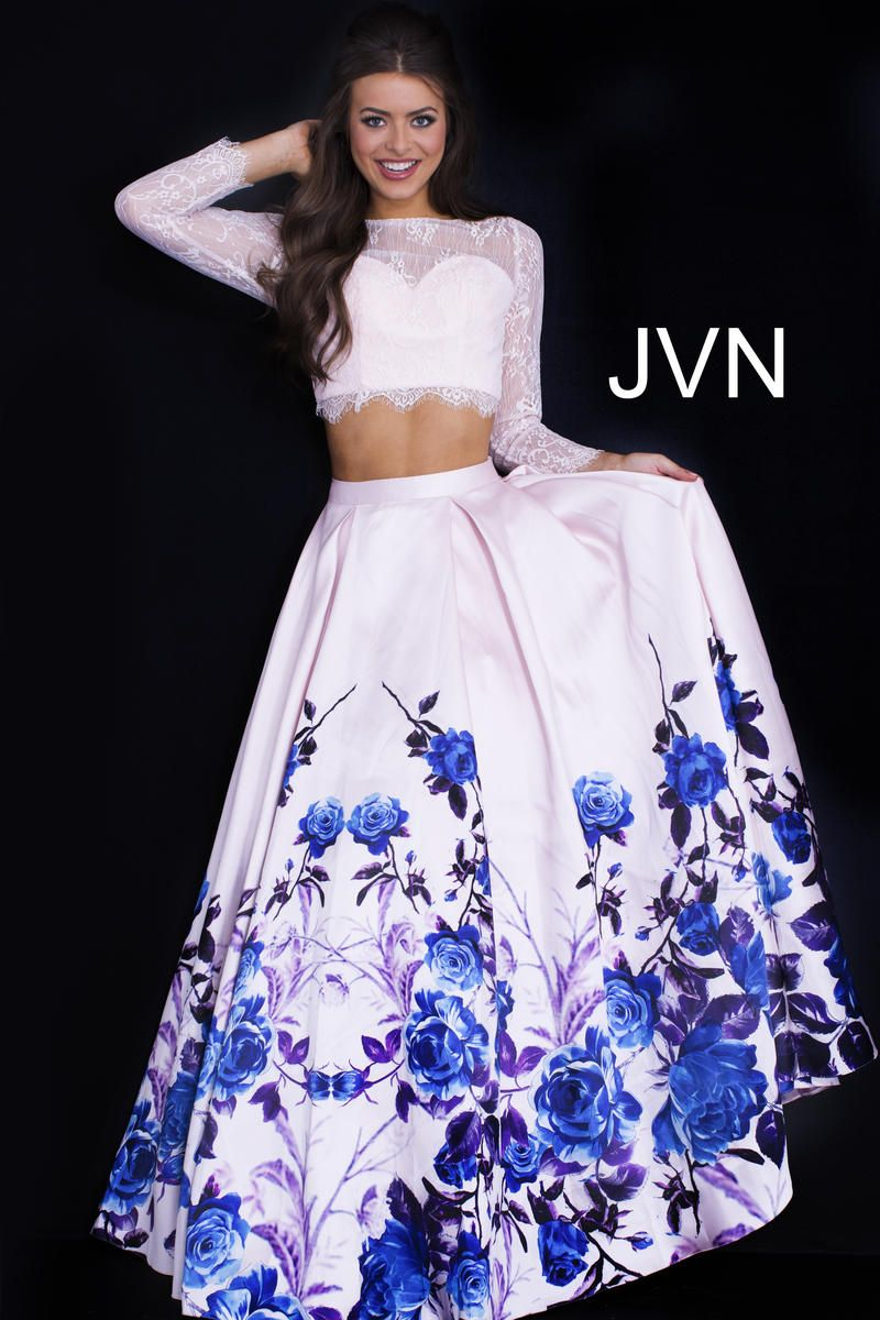 jvn prom jvn50010 sheer long sleeve 2 piece gown french