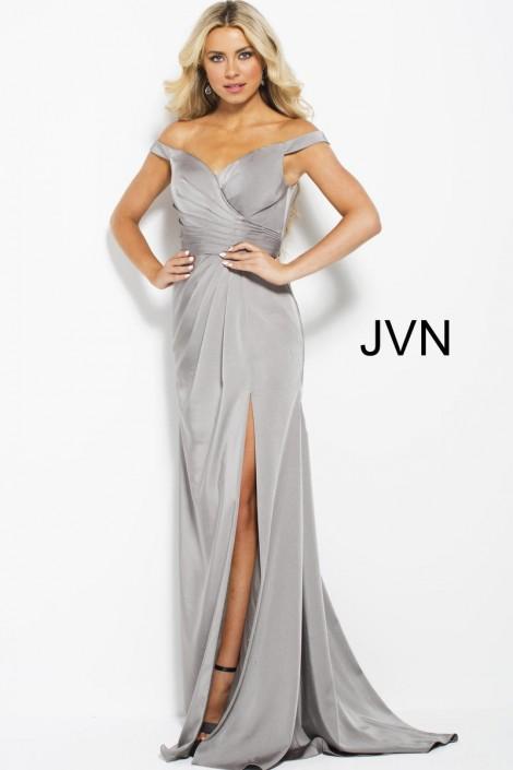 JVN Prom JVN50409 Off Shoulder Draped Gown: French Novelty