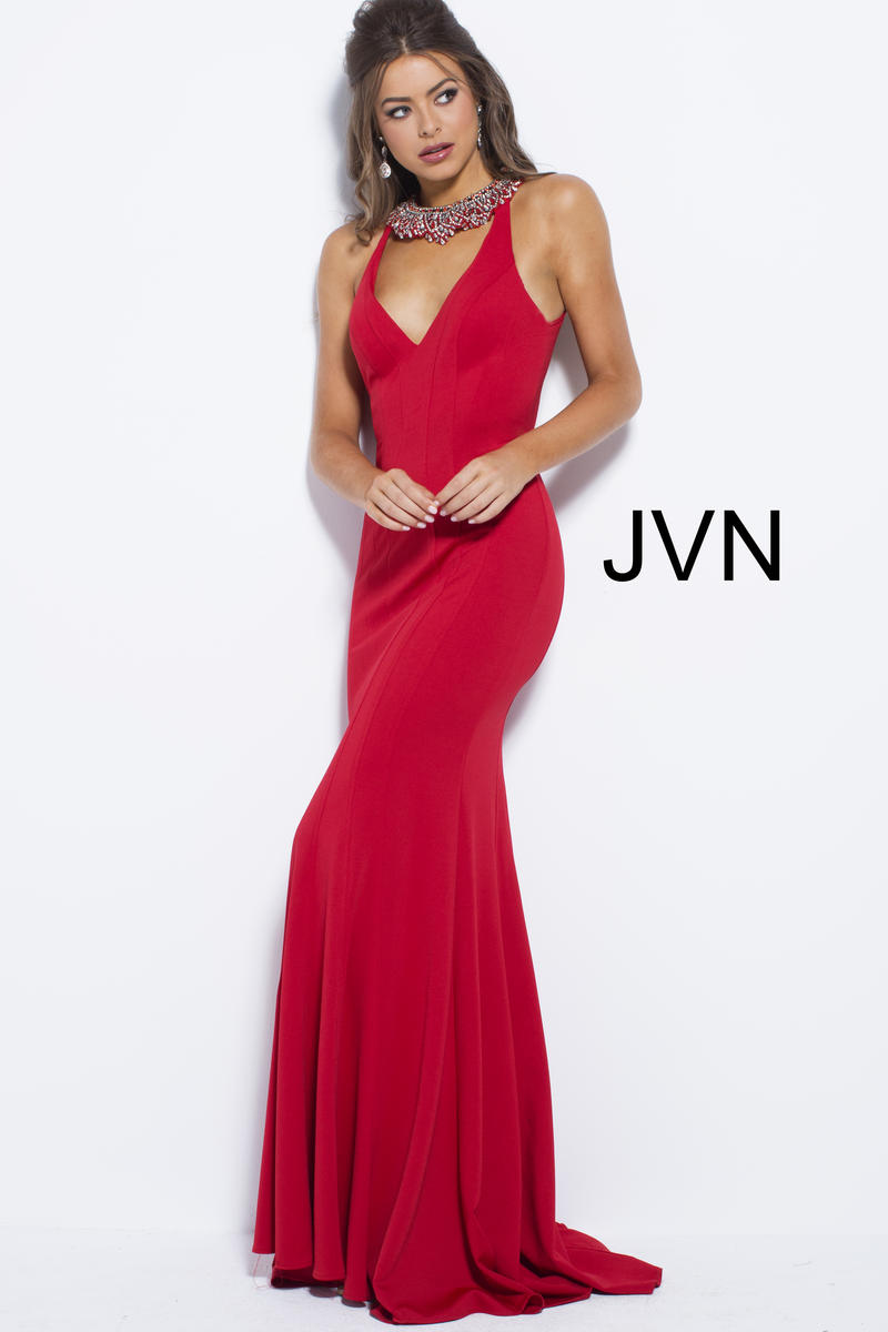 Jvn Prom Jvn53349 Jeweled Neck Gown French Novelty