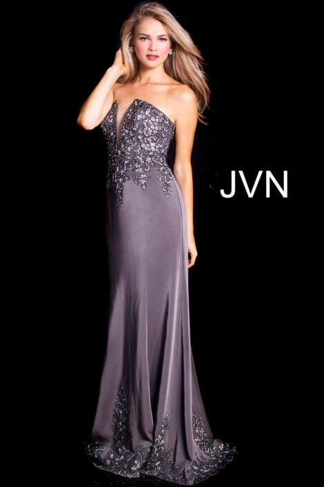 83b4aad0e4b JVN Prom JVN59133 Strapless Embroidered Gown  French Novelty